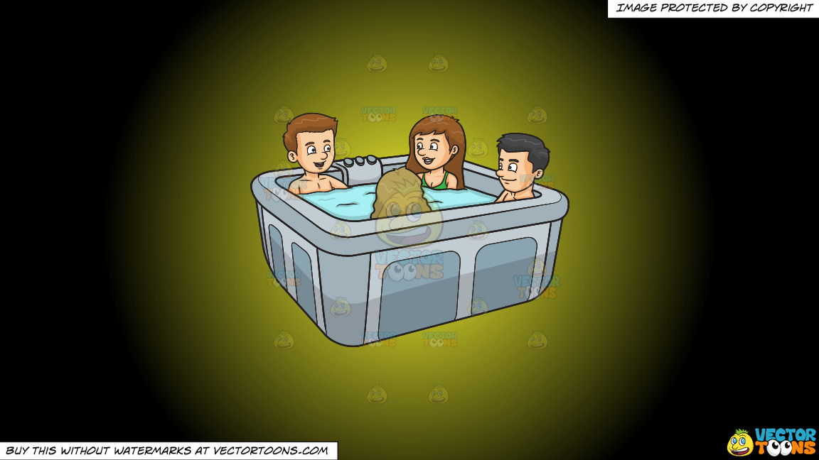A Group Of Friends In A Hot Tub On A Yellow And Black Gradient Background thumbnail