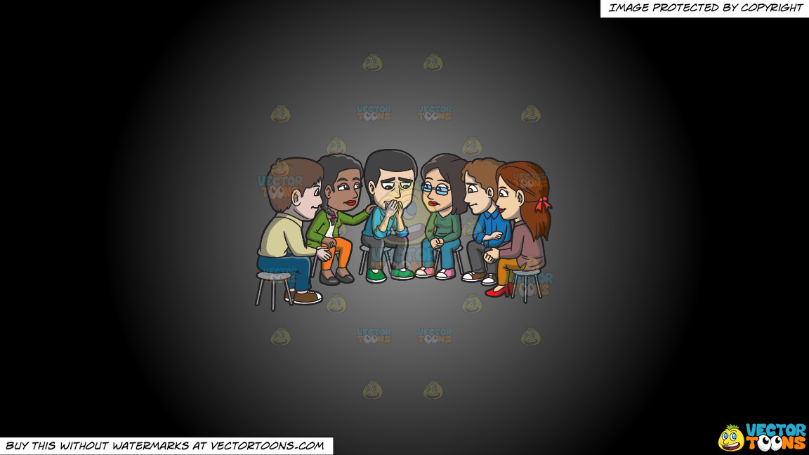 A Group Of People Consoling A Sad Man During A Support Group Session On A Grey And Black Gradient Background thumbnail