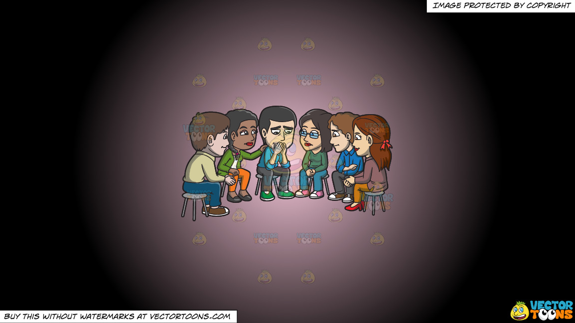 A Group Of People Consoling A Sad Man During A Support Group Session On A Pink And Black Gradient Background thumbnail