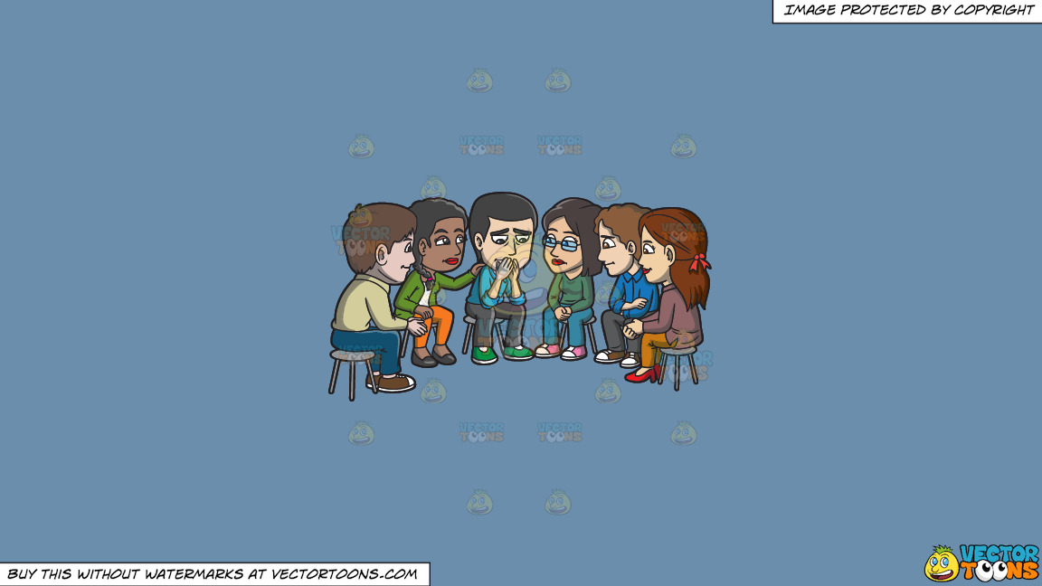 A Group Of People Consoling A Sad Man During A Support Group Session On A Solid Shadow Blue 6c8ead Background thumbnail