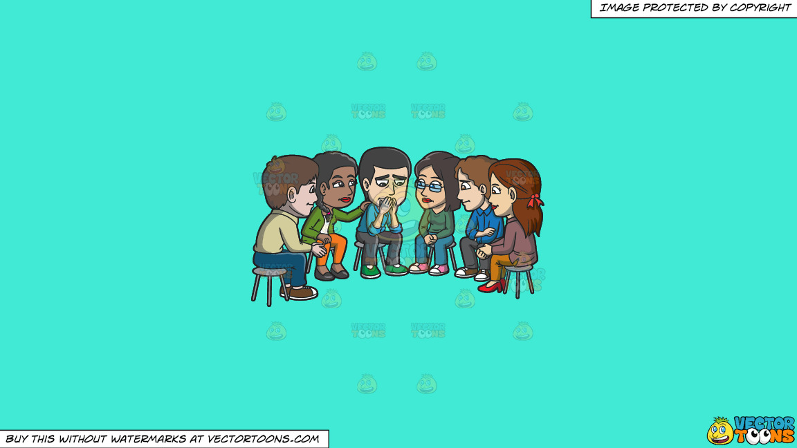 A Group Of People Consoling A Sad Man During A Support Group Session On A Solid Turquiose 41ead4 Background thumbnail