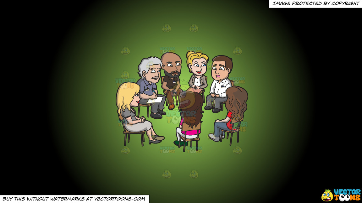 A Group Of People Listening To A Man During A Support Group Session On A Green And Black Gradient Background thumbnail