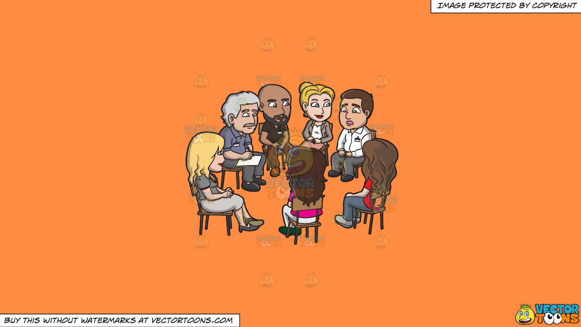 A Group Of People Listening To A Man During A Support Group Session On A Solid Mango Orange Ff8c42 Background thumbnail
