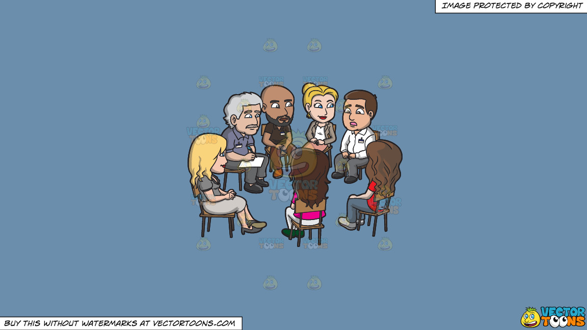 A Group Of People Listening To A Man During A Support Group Session On A Solid Shadow Blue 6c8ead Background thumbnail