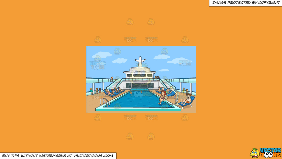 A Group Of People Relaxing By The Pool Side Of A Cruise Ship On A Solid Deep Saffron Gold F49d37 Background thumbnail