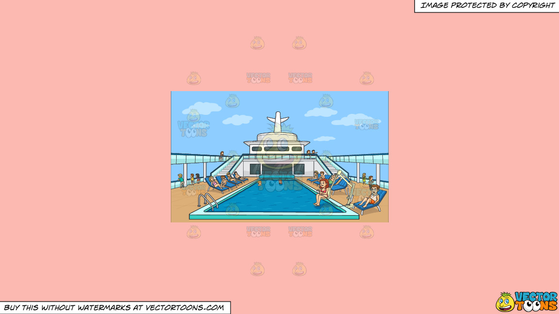 A Group Of People Relaxing By The Pool Side Of A Cruise Ship On A Solid Melon Fcb9b2 Background thumbnail