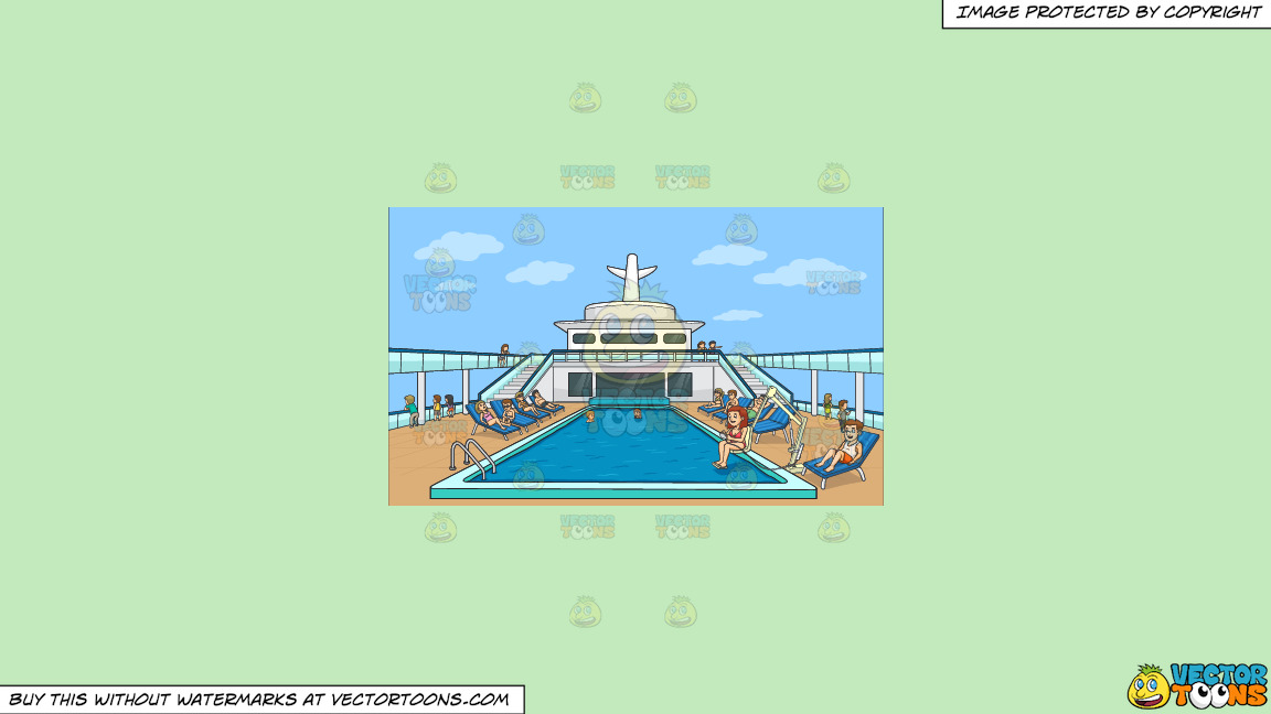 A Group Of People Relaxing By The Pool Side Of A Cruise Ship On A Solid Tea Green C2eabd Background thumbnail