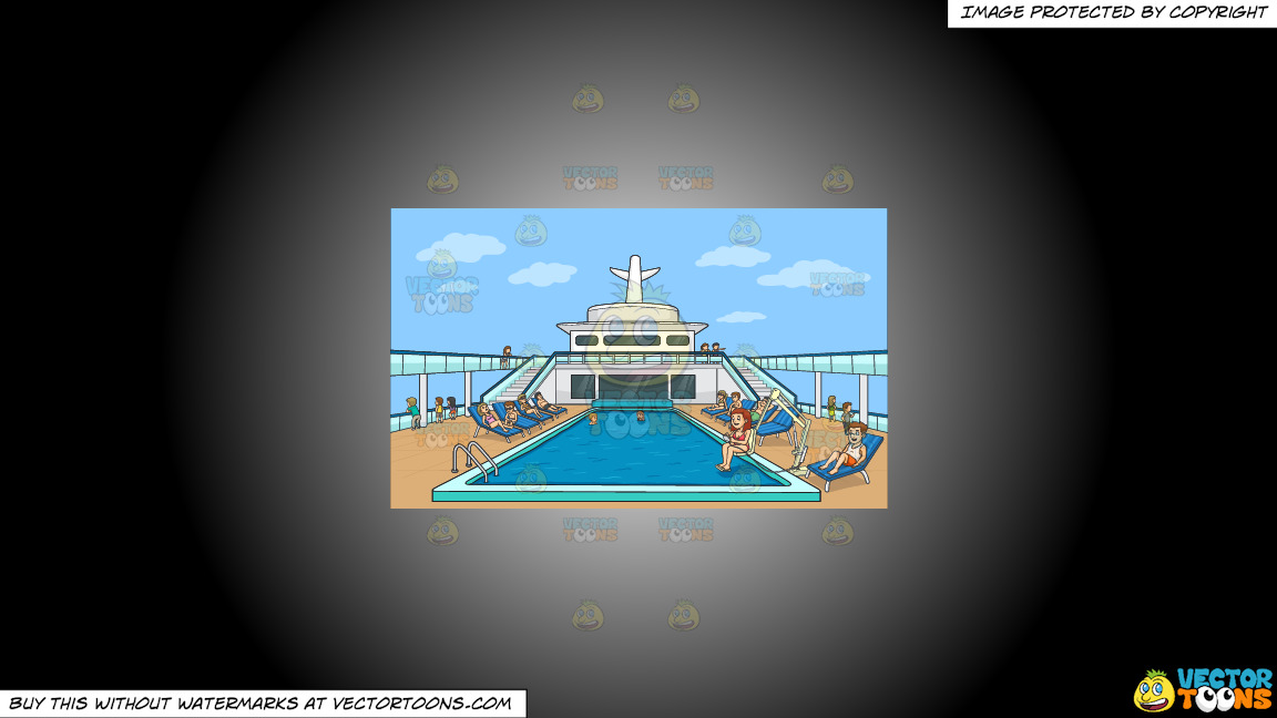 A Group Of People Relaxing By The Pool Side Of A Cruise Ship On A White And Black Gradient Background thumbnail