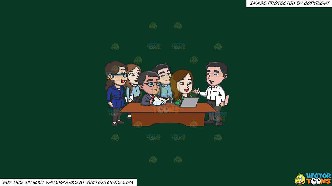 A Group Of Workers Listening To Their Boss On A Solid Dark Green 093824 Background thumbnail