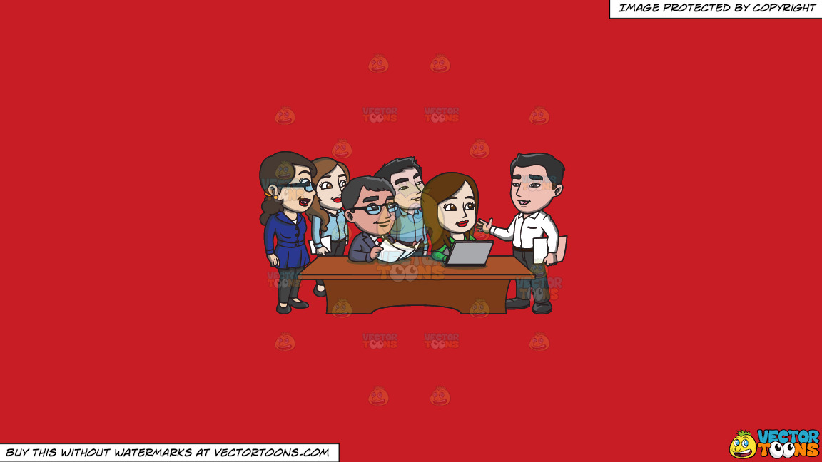 A Group Of Workers Listening To Their Boss On A Solid Fire Engine Red C81d25 Background thumbnail