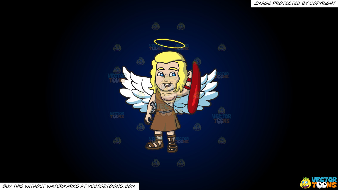 A Guardian Angel On A Dark Blue And Black Gradient Background thumbnail