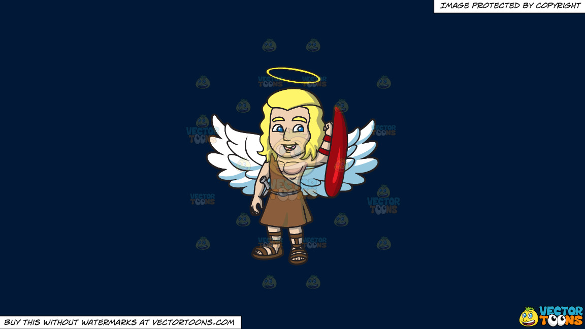 A Guardian Angel On A Solid Dark Blue 011936 Background thumbnail