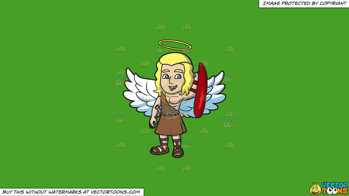 A Guardian Angel On A Solid Kelly Green 47a025 Background thumbnail