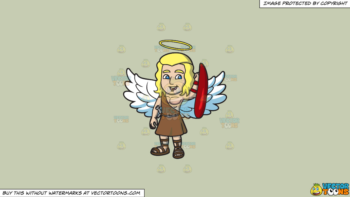 A Guardian Angel On A Solid Pale Silver C6ccb2 Background thumbnail