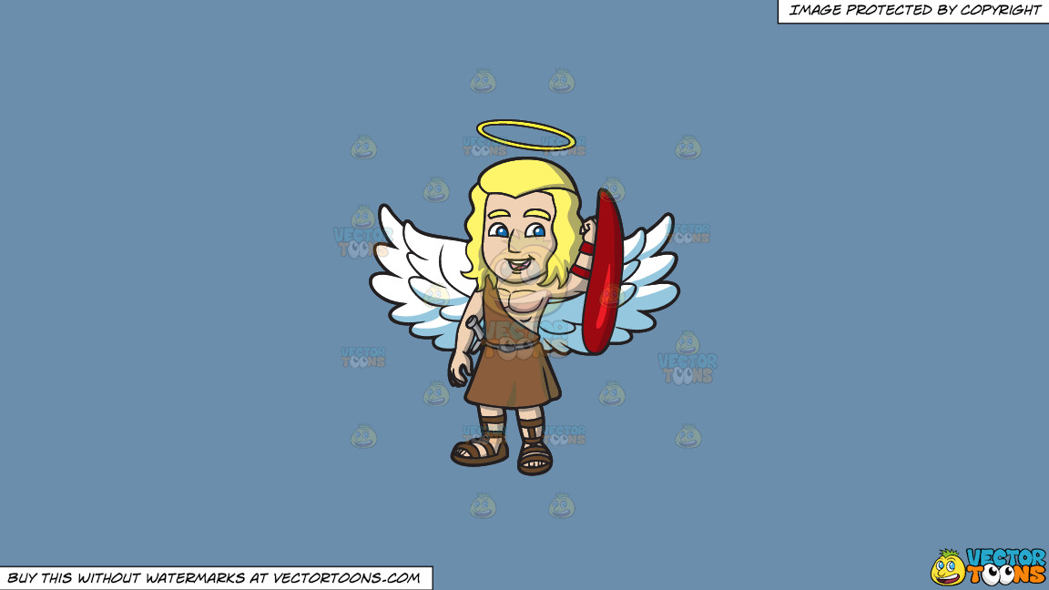 A Guardian Angel On A Solid Shadow Blue 6c8ead Background thumbnail