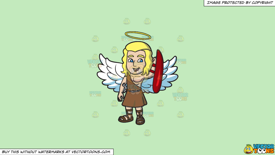 A Guardian Angel On A Solid Tea Green C2eabd Background thumbnail