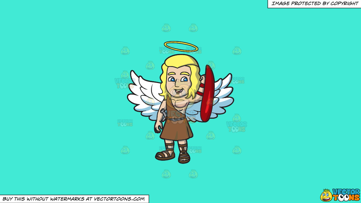 A Guardian Angel On A Solid Turquiose 41ead4 Background thumbnail