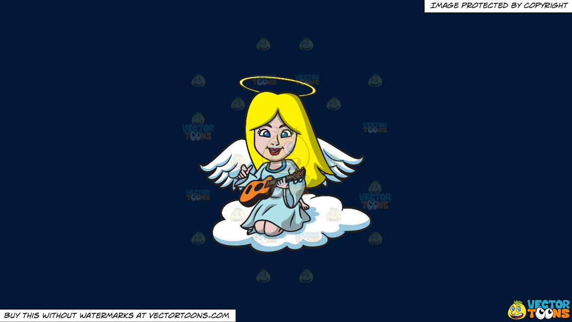 A Guitar Playing Angel On A Solid Dark Blue 011936 Background thumbnail