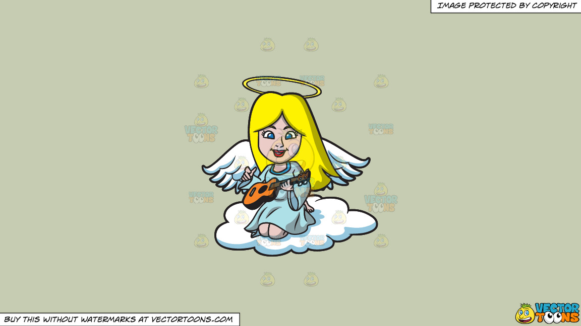 A Guitar Playing Angel On A Solid Pale Silver C6ccb2 Background thumbnail