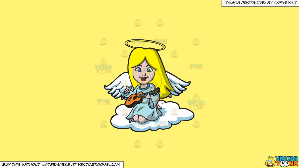 A Guitar Playing Angel On A Solid Sunny Yellow Fff275 Background thumbnail