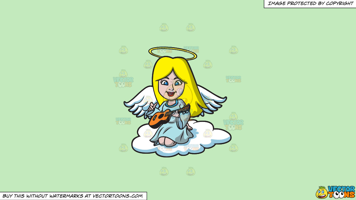 A Guitar Playing Angel On A Solid Tea Green C2eabd Background thumbnail