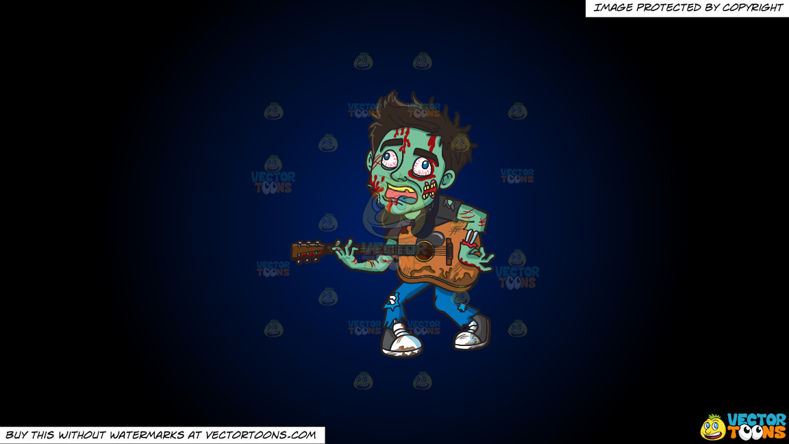 A Guitar Playing Zombie On A Dark Blue And Black Gradient Background thumbnail