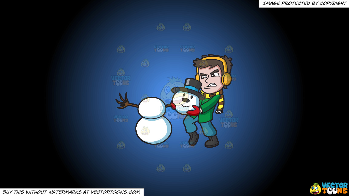 A Guy Carrying A Heavy Snowman Head On A Blue And Black Gradient Background thumbnail