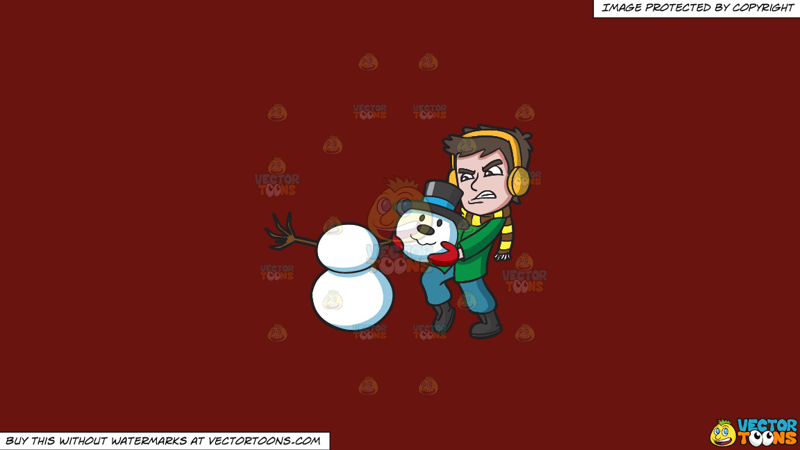 A Guy Carrying A Heavy Snowman Head On A Solid Maroon 69140e Background thumbnail