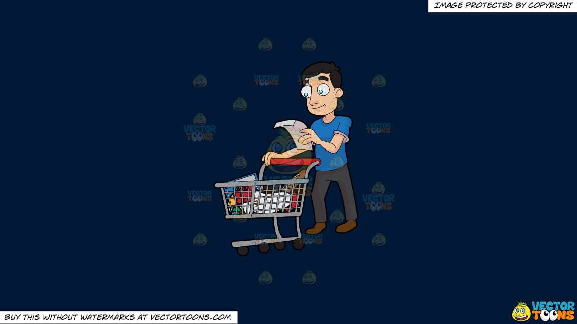 A Guy Checking His Grocery List On A Solid Dark Blue 011936 Background thumbnail