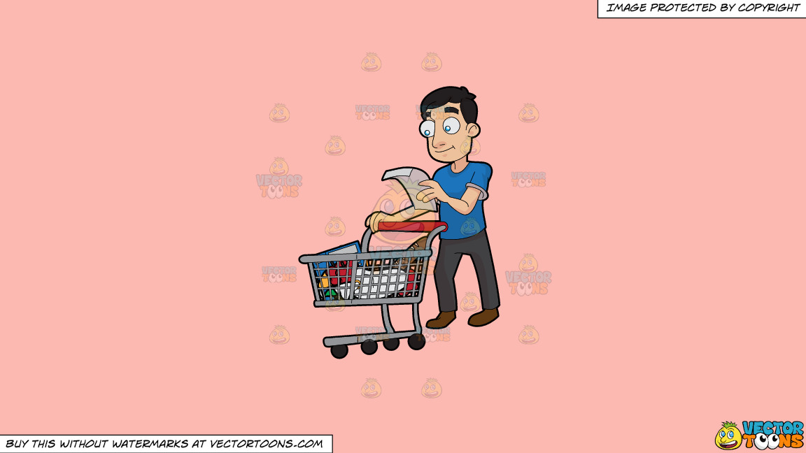 a guy checking his grocery list on a solid melon fcb9b2 background