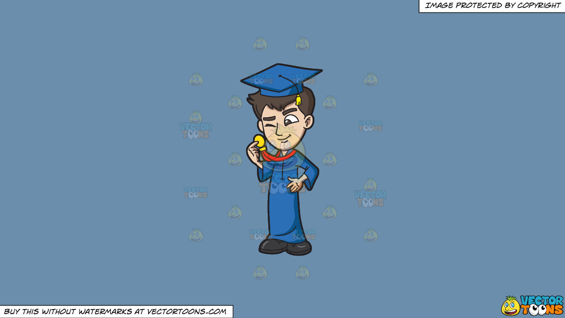 A Guy Checking Out His Graduation Medal Award On A Solid Shadow Blue 6c8ead Background thumbnail