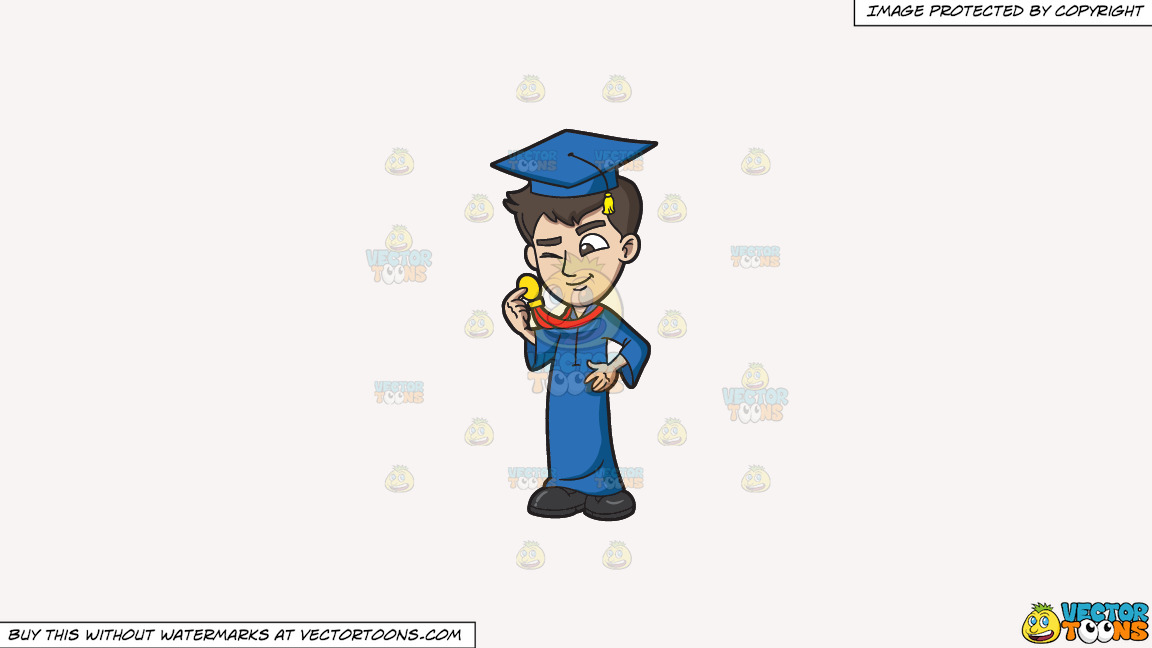 A Guy Checking Out His Graduation Medal Award On A Solid White Smoke F7f4f3 Background thumbnail
