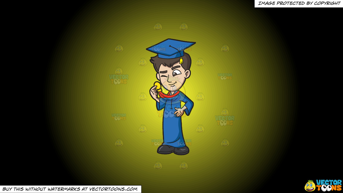 A Guy Checking Out His Graduation Medal Award On A Yellow And Black Gradient Background thumbnail