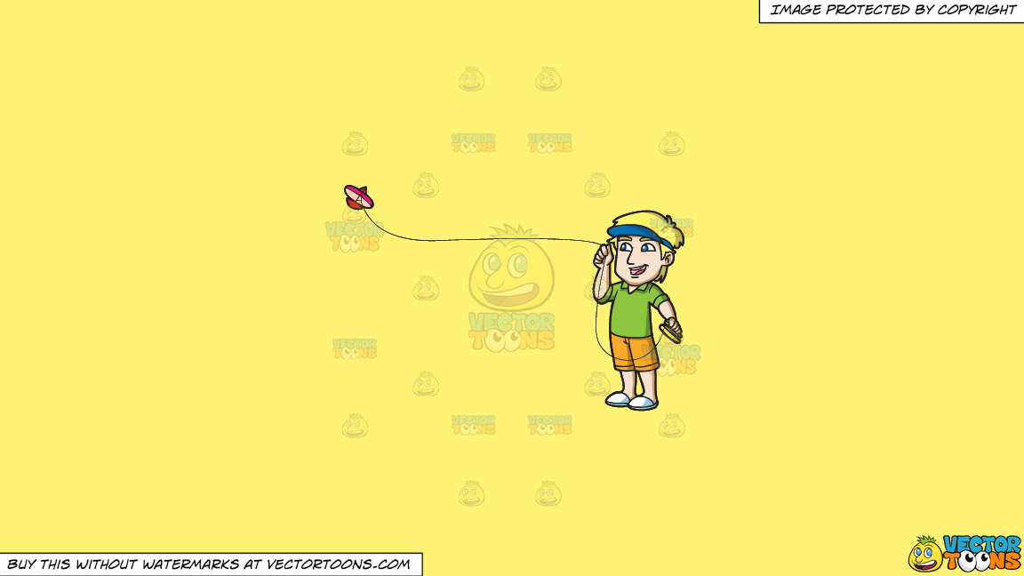 A Guy Enjoying The View Of His Flying Kite On A Solid Sunny Yellow Fff275 Background thumbnail