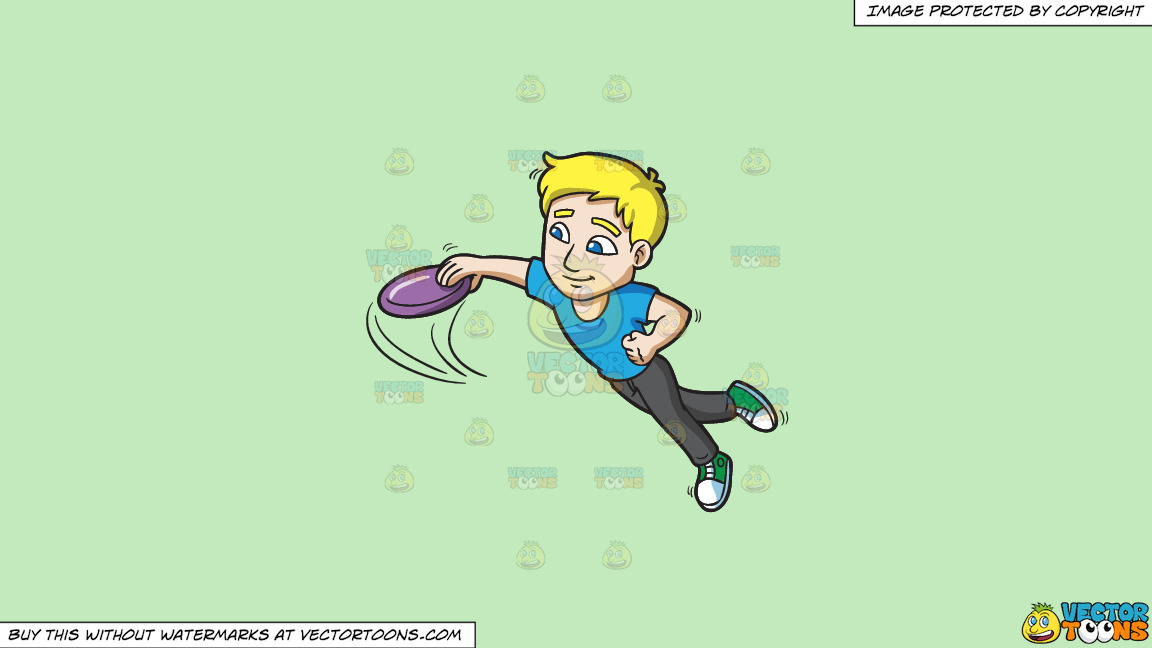 A Guy Leaps Forward To Catch A Frisbee On A Solid Tea Green C2eabd Background thumbnail