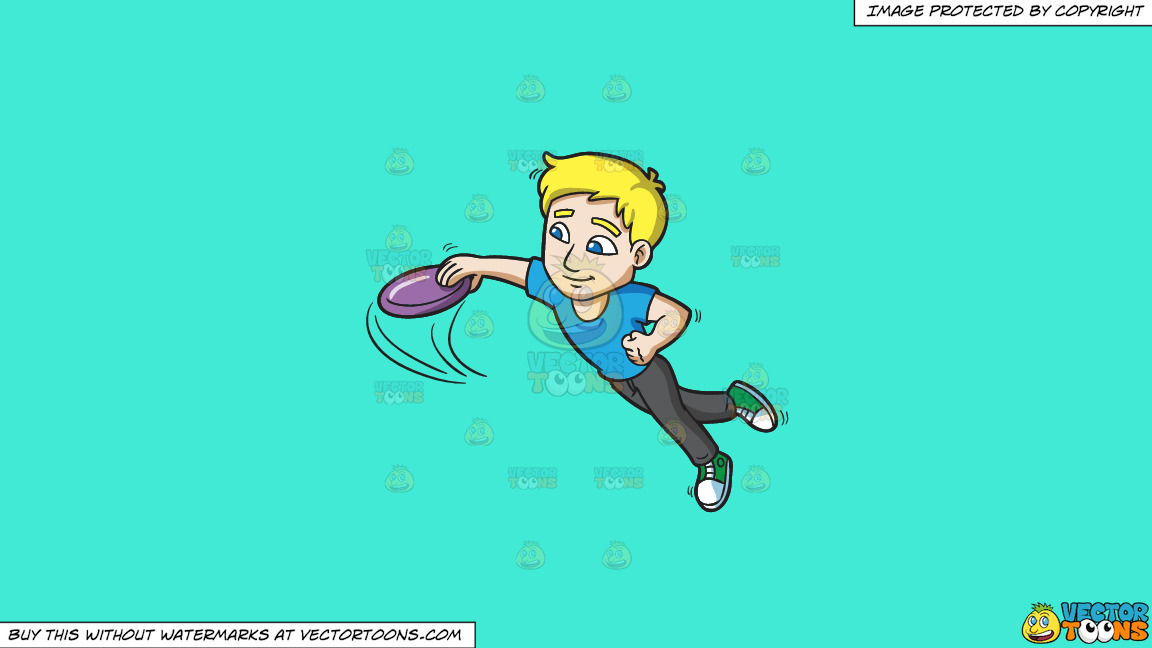 A Guy Leaps Forward To Catch A Frisbee On A Solid Turquiose 41ead4 Background thumbnail