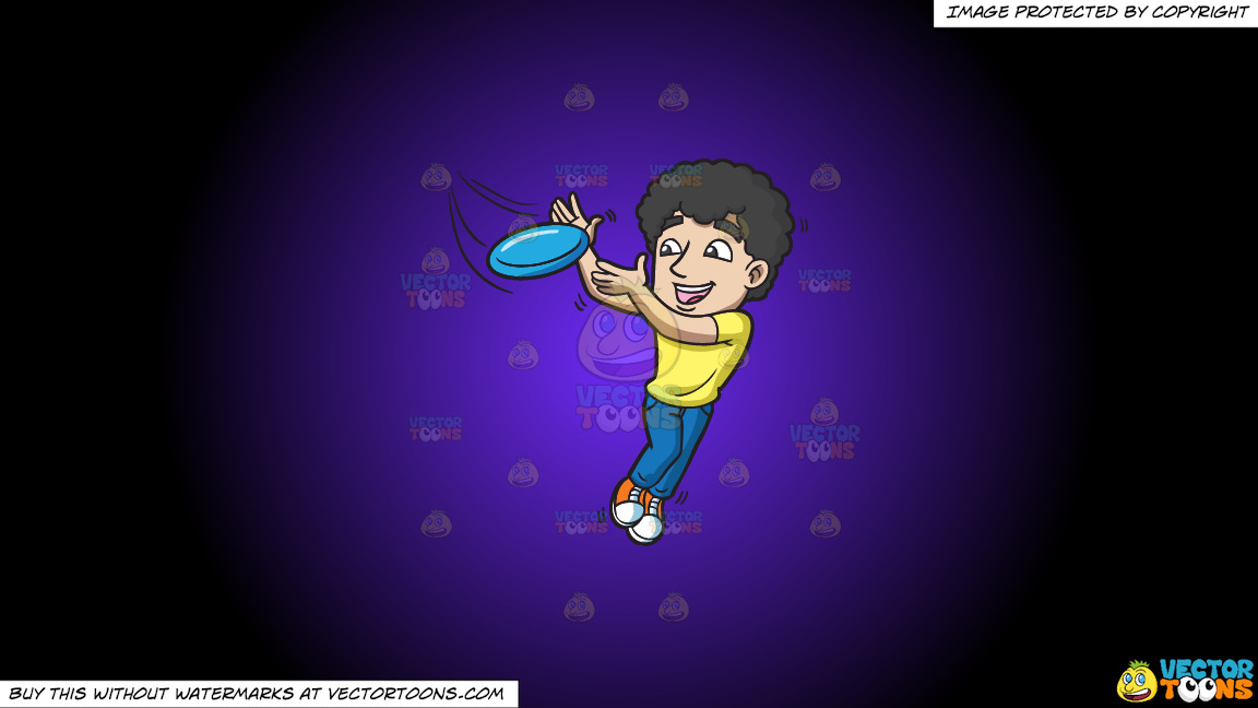 A Guy Leaps To Catch A Frisbee On A Purple And Black Gradient Background thumbnail