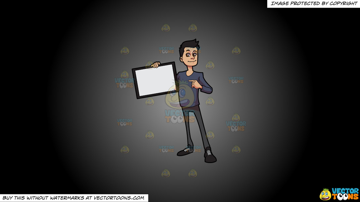 A Guy Proudly Showing A Signboard On A Grey And Black Gradient Background thumbnail