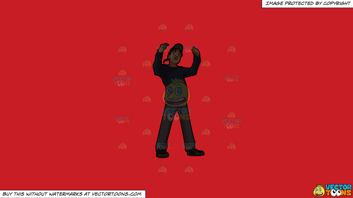 A Guy Rapper On A Solid Fire Engine Red C81d25 Background thumbnail