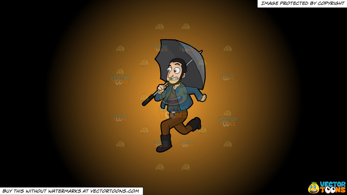A Guy Running Away From The Rain On A Orange And Black Gradient Background thumbnail