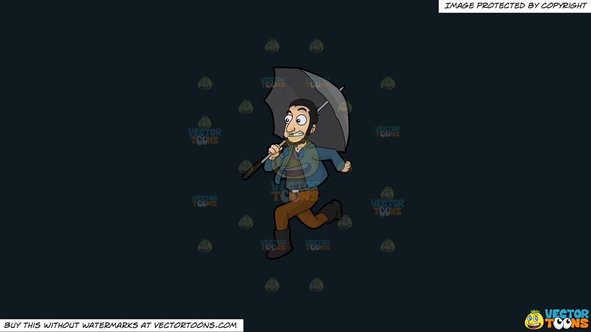 A Guy Running Away From The Rain On A Solid Off Black 0f1a20 Background thumbnail