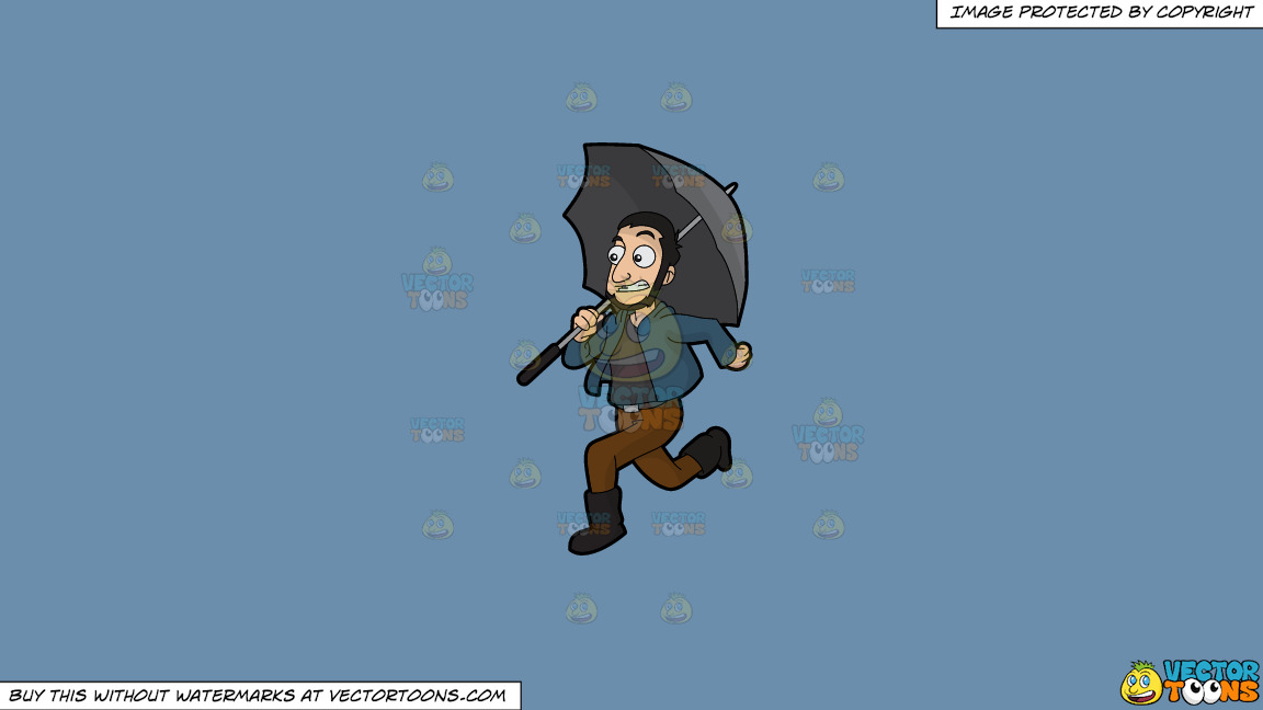 A Guy Running Away From The Rain On A Solid Shadow Blue 6c8ead Background thumbnail