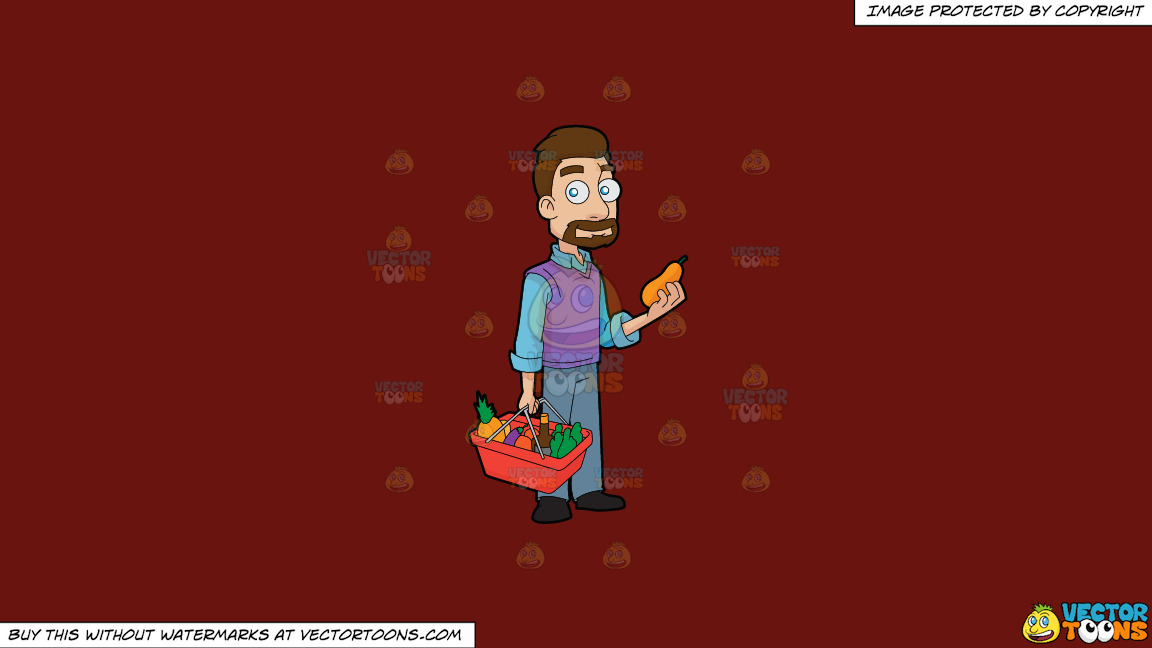 A Guy Shopping For Fruits And Vegetables On A Solid Maroon 69140e Background thumbnail