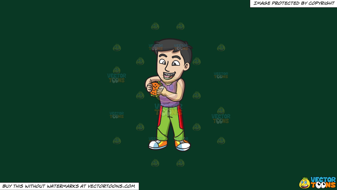 A Guy With Braces About To Eat A Hamburger On A Solid Dark Green 093824 Background thumbnail
