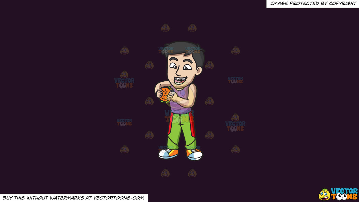 A Guy With Braces About To Eat A Hamburger On A Solid Purple Rasin 241023 Background thumbnail