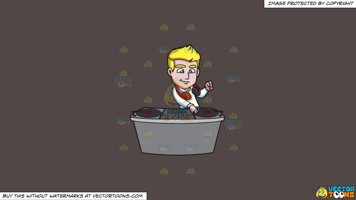 A Handsome Dj Mixing Records On A Solid Quartz 504746 Background thumbnail