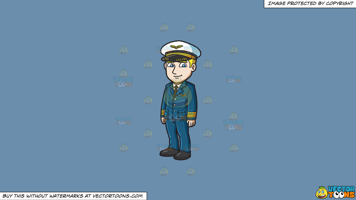 A Handsome Pilot On A Solid Shadow Blue 6c8ead Background thumbnail