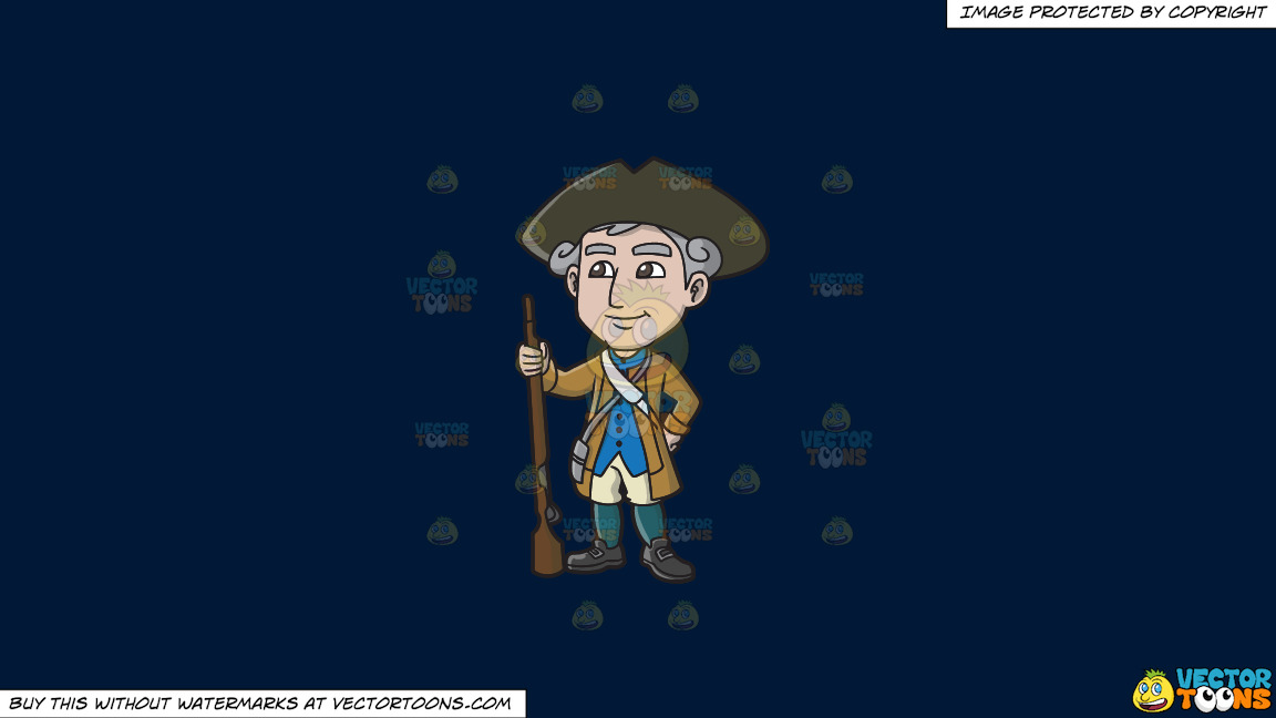 A Happy 18th Century Military Man On A Solid Dark Blue 011936 Background thumbnail