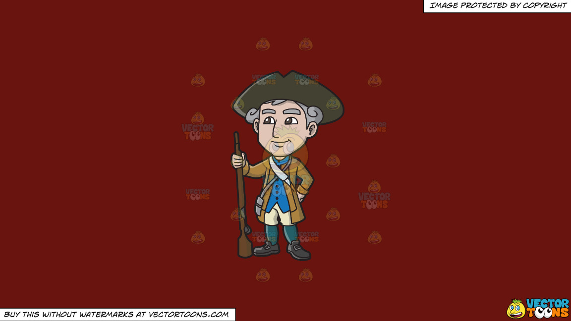 A Happy 18th Century Military Man On A Solid Maroon 69140e Background thumbnail