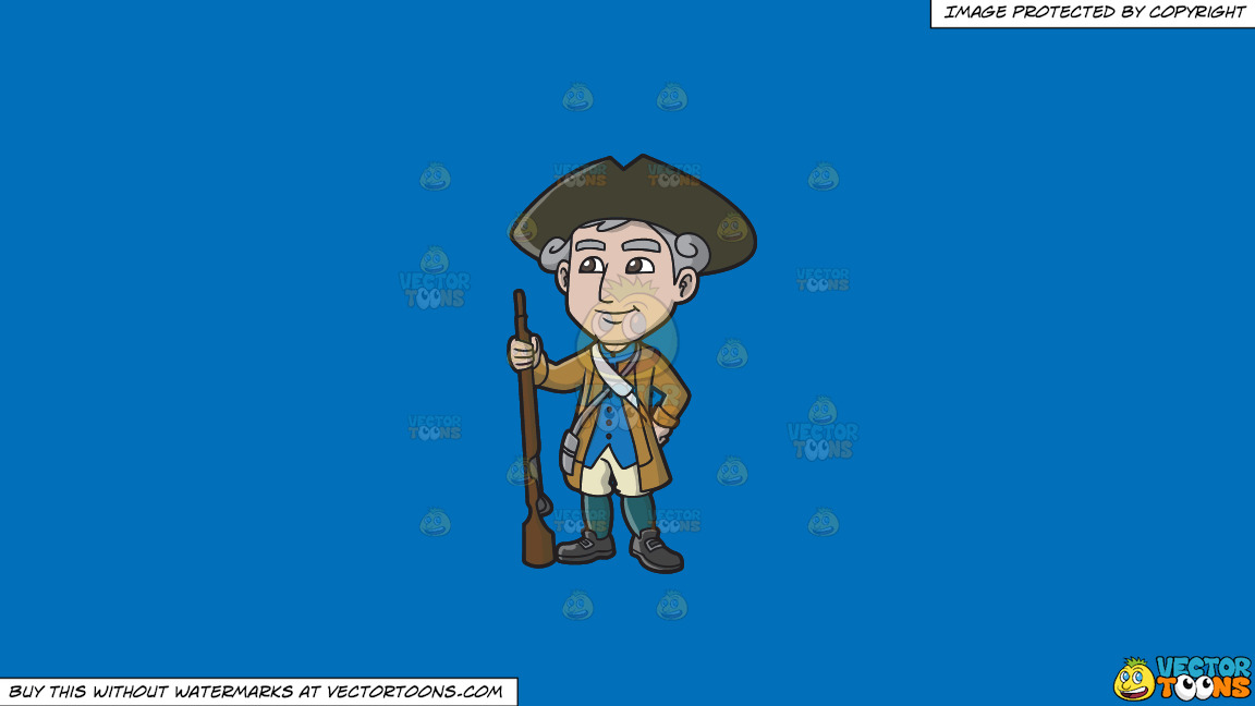 A Happy 18th Century Military Man On A Solid Spanish Blue 016fb9 Background thumbnail